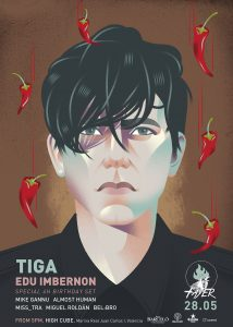 Tiga on Fayer next sunday 28th may 2017 High Cube Valencia with Edu Imbernon, Mike Gannu and Almost Human